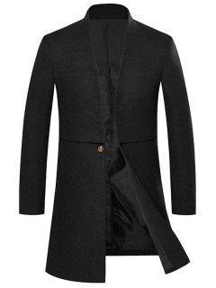 Open Front One Button Longline Woolen Coat - Black 3xl
