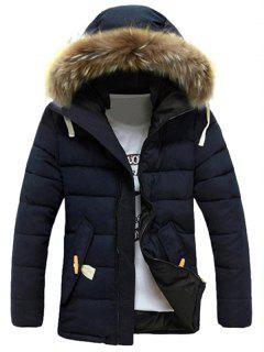 Detachable Faux Fur Collar Zip Up Padded Coat - Deep Blue 3xl