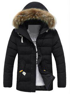 Detachable Faux Fur Collar Zip Up Padded Coat - Black Xl