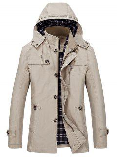 Hooded Multi Pockets Single Breasted Zip Up Coat - Light Khaki 2xl