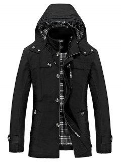 Hooded Multi Pockets Single Breasted Zip Up Coat - Black Xl