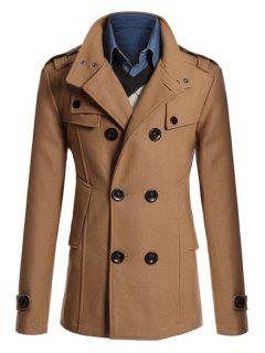 Epaulet Double Breasted Pea Coat - Camel 3xl