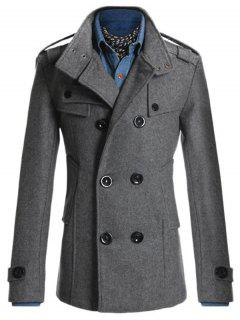 Epaulet Double Breasted Longline Peacoat - Deep Gray 3xl