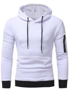 Plaid Emboss Zip Pocket Pullover Hoodie - White 2xl