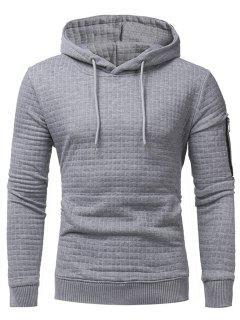 Plaid Emboss Zip Pocket Pullover Hoodie - Light Gray Xl