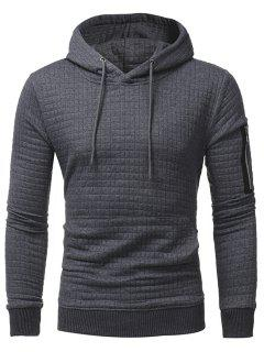 Plaid Emboss Zip Pocket Pullover Hoodie - Deep Gray L