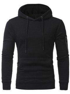 Plaid Emboss Zip Pocket Pullover Hoodie - Black 3xl