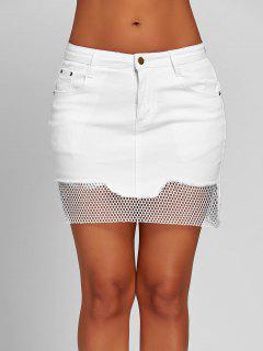 Fishnet Panel A-line Mini Skirt - White L
