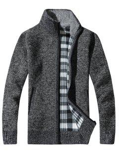 Knit Blends Tartan Fleece Lining Zip Up Jacket - Deep Gray Xl