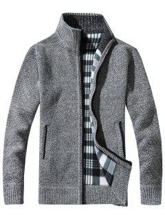 Knit Blends Tartan Fleece Lining Zip Up Jacket - Light Gray 2xl