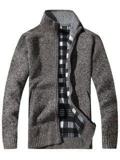 Knit Blends Tartan Fleece Lining Zip Up Jacket - Coffee 3xl