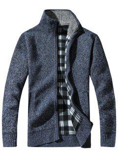 Knit Blends Tartan Fleece Lining Zip Up Jacket - Blue Xl