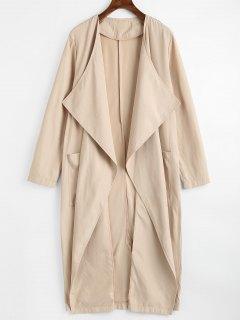 Back Slit Draped Trench Coat With Pockets - Light Khaki L