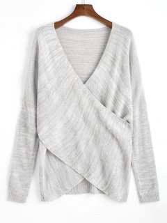 Pullover Crossed Front V Neck Sweater - Light Gray