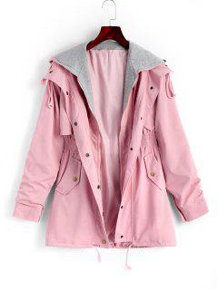 Manteau à Capuche Zippé Avec Poches - Rose PÂle L
