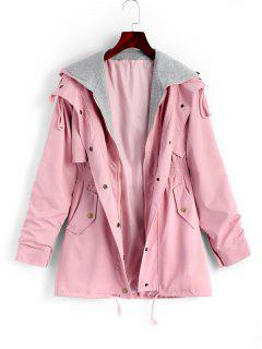 Zip Up Hooded Coat With Pockets - Pink M