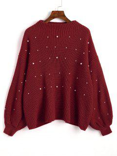 Lantern Sleeve Oversized Faux Pearls Sweater - Wine Red