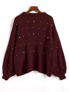 Suéter De Perlas De Imitación De Gran Tamaño Mangas Linterna - Dark Red