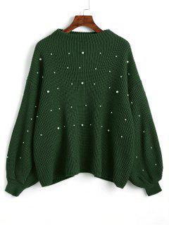 Lantern Sleeve Oversized Faux Pearls Sweater - Green
