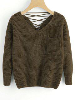 V Neck Lace Up Back Pullover Sweater - Army Green