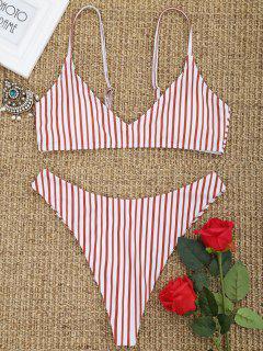 Gestreiftes High Cut Tanga Bikini Set - Rot Und Weiß S