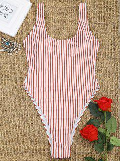 Low Back High Cut Striped Swimwear - Red With White M