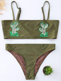 Maillot De Bain En Bikini à Bandeau Et Imprimé Cactus  - Vert Foncé M