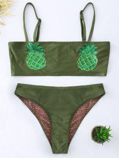 Sequin Pineapple Bandeau Top Bikini Set - Blackish Green S
