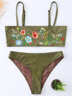 Floral Embroidered Cami Tube Bikini Set - Blackish Green S