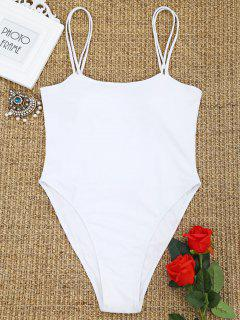 One Piece Cami High Cut Swimwear - White L