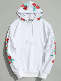 Pullover Floral Print Hoodie - White M