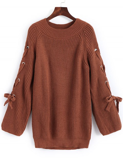 lady Pullover Raglan Sleeve Lace Up Sweater - LIGHT BROWN ONE SIZE Mobile