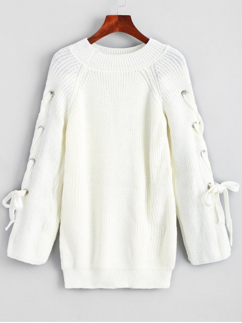 new Pullover Raglan Sleeve Lace Up Sweater - WHITE ONE SIZE Mobile