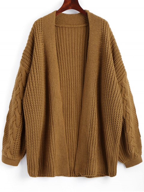 latest Cable Knit Chunky Open Cardigan - BROWN ONE SIZE Mobile