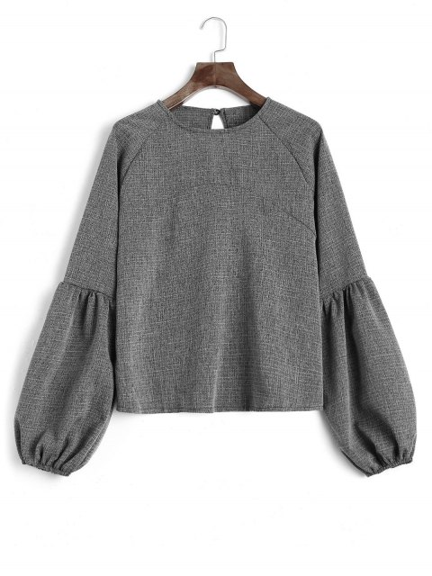 trendy Keyhole Lantern Sleeve Heathered Sweatshirt - DEEP GRAY S Mobile