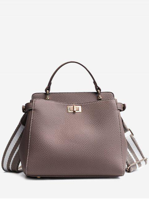 shops Top Handle Faux Leather Stitching Handbag - GRAY  Mobile