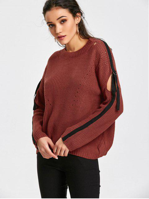 best Strips Pullover Cut Out Sweater - BRICK-RED ONE SIZE Mobile