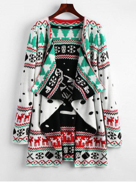 Cárdigan de punto cubierto de túnica gráfica de Navidad - Blanco 2XL Mobile