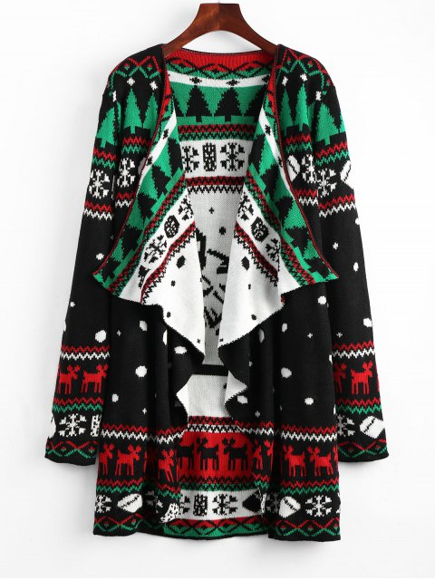 hot Christmas Graphic Tunic Knitted Draped Cardigan - BLACK L Mobile