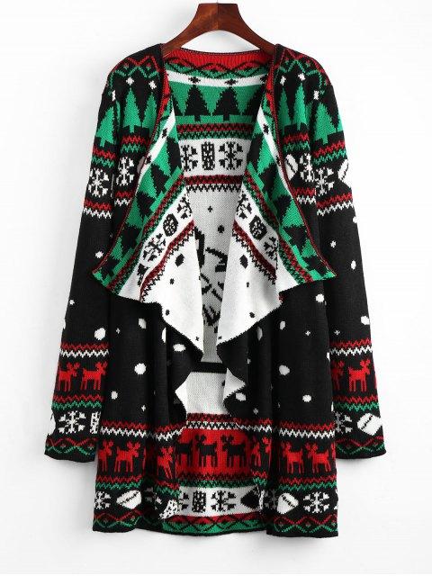 Cardigan Drapé Tunique en Tricot à Motif Noël - Noir XL Mobile