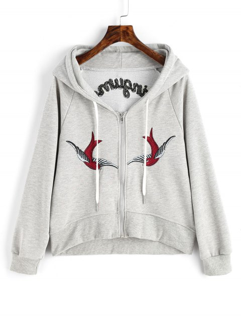 unique Zip Up Bird Floral Embroidered Hoodie - GRAY L Mobile