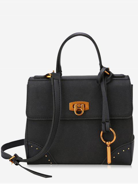 fashion Rivets Multi Function Metal Handbag - BLACK  Mobile