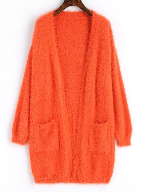 affordable Longline Textured Open Front Cardigan - ORANGE RED ONE SIZE Mobile