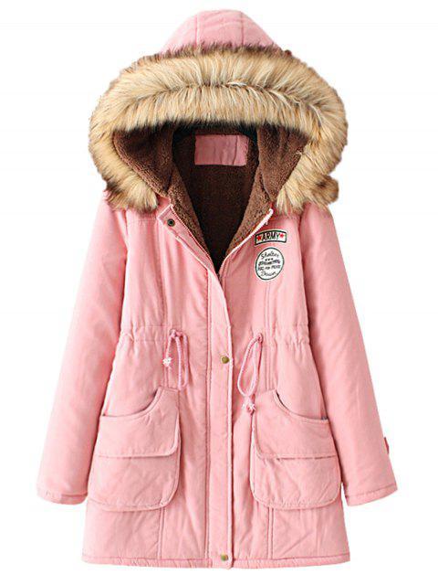 best Snap Button Fur Collar Parka Coat - PINK S Mobile