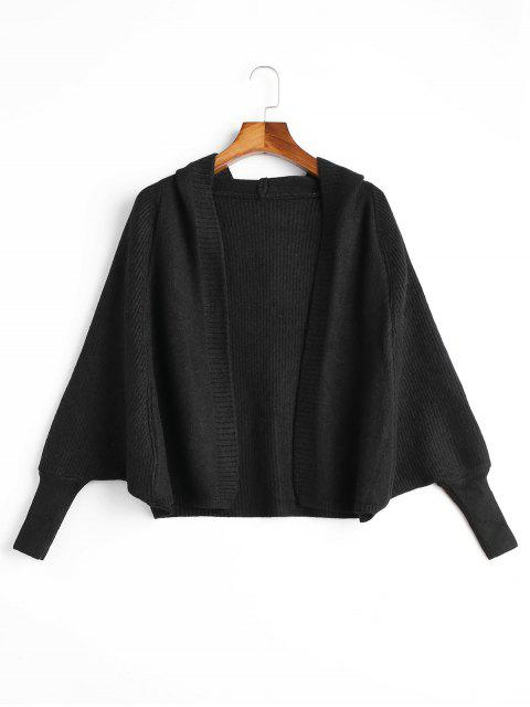 shops Open Front Plain Hooded Cardigan - BLACK ONE SIZE Mobile