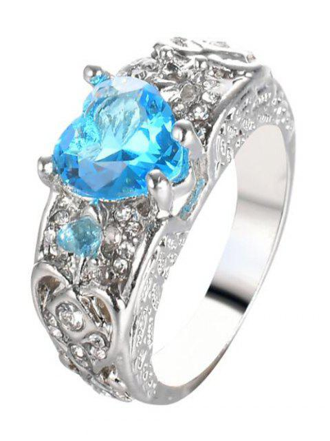 unique Engraved Faux Gem Heart Finger Ring - WINDSOR BLUE 6 Mobile