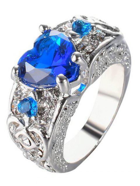 Anillo de dedo grabado corazón de imitación de la gema - Azul Zafiro 6 Mobile