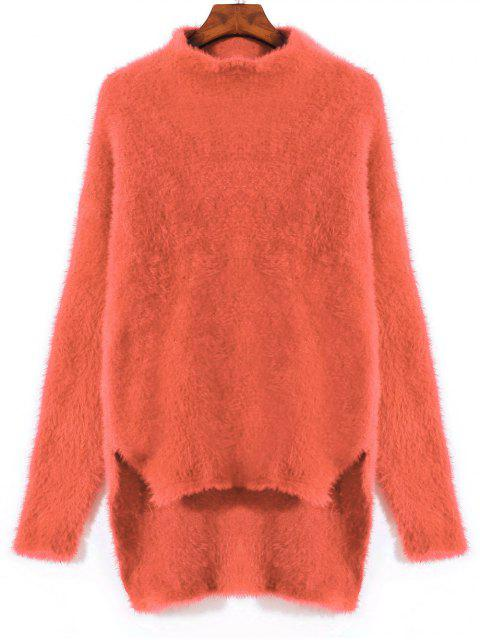 chic Slit High Low Mohair Sweater - ORANGE ONE SIZE Mobile