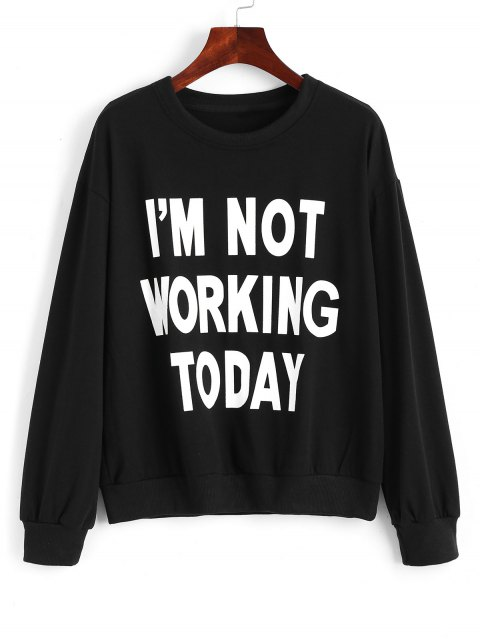 latest Cotton Fitting Front Slogan Sweatshirt - BLACK M Mobile
