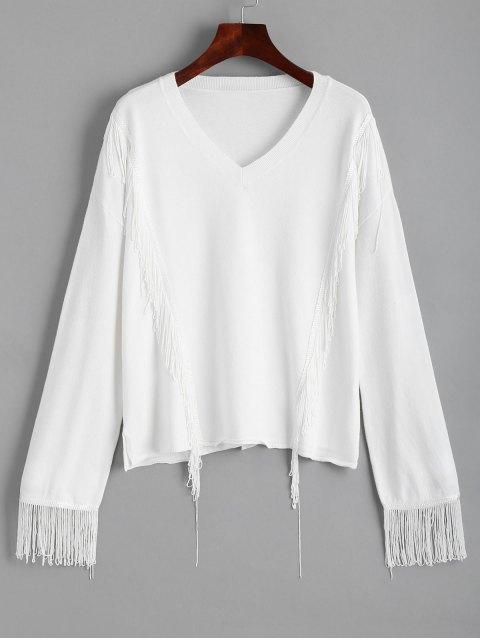 Pullover mit V-Ausschnitt mit Fransen - Weiß L Mobile